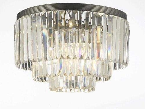 Palladium Empress Crystal tm Glass Fringe 3-Tier Flush Chandelier Lighting 17.5 x 19.8 x 17.5