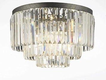 Palladium Empress Crystal tm Glass Fringe 3-Tier Flush Chandelier Lighting 17.5 x 19.8 x 17.5