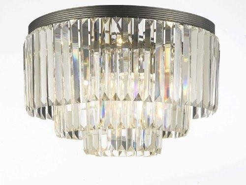 Palladium Empress Crystal ™ Glass Fringe 3-tier Flush Chandelier Chandeliers Lighting For Sale