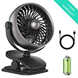 Shinebella Battery Operated Clip on Fan, Baby Stroller Fan, USB or Rechargeable Battery Powered Desk Fan, 4 Speeds with Aroma Function, Small Personal Fan for Baby Stroller,Office,Outdoor Activities