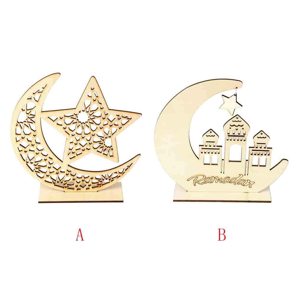 B Ramadan H/ölzerne Plakette Ornament Muslim Islam h/ängenden Anh/änger Mond Form Holz H/ängende Ornamente Geschenk Eid Mubarak Ramadhan Kareem Islam Geschenk bingT Ramadan Home Decor