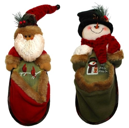 Christmas Decorative Pouch Stuff Holders Santa Claus Snowman Burlap Figures Stuffed Puppet Fun Decorations Hanging Kitchen Room Ornament
