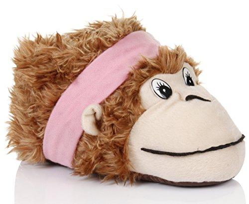 Nette Damen, Frauen, Mädchen Neuheit 3D-Tierhausschuhe verschiedene Arten, Größen 36-43 Affe