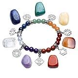 Top Plaza 7 Chakra Healing Crystals Yoga Balance Irregular Polished Tumbled Palm Stones Set W/ 7 Chakra Balancing Energy Stone Bracelet (7 Chakra Symbols)