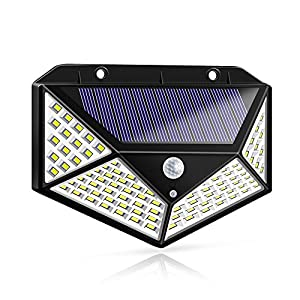 Solar Lights Outdoor, Solar Powered Motion Sensor Lights 100 LEDs Outdoor Waterproof Wall Light Night Light with 3 Modes with 270° Wide Angle for Garden, Patio Yard, Deck Garage, Fence – 1 Pack