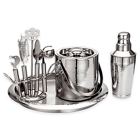 - Godinger Hammered Stainless Steel Bar Set with combination of satin and polished hammered surfaces