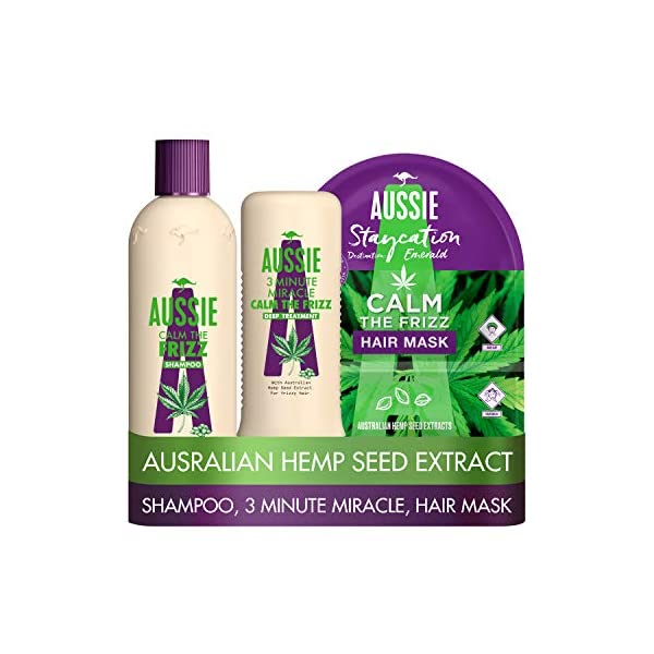 Aussie Calm The Frizz Shampoo and Conditioner set with a Shampoo, 3 Minute Miracle Deep Conditioner and Hair Mask, for Frizzy Hair, with Australian Hemp Seed Oil, Cruelty Free