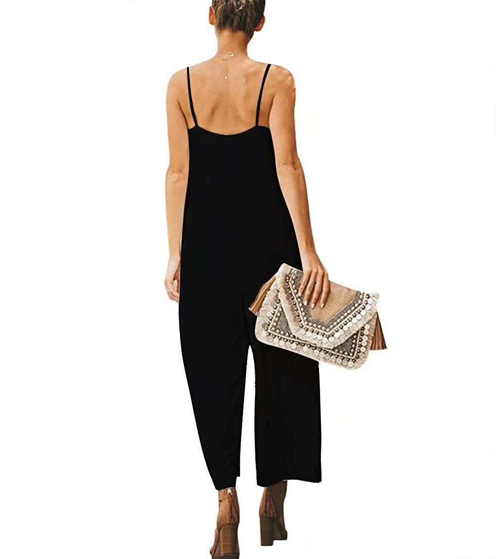 MYHALF Womens Spaghetti Strap Wide Leg Off Shoulder Waist Belted Jumpsuits Rompers