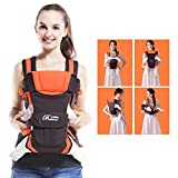 GearBest 4-in-1 Convertible Backpack Baby Carrier with Buckle Mesh Wrap, Comfortable for Newborns and Toddlers - Orange