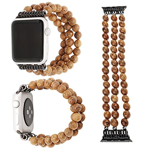 Price comparison product image ZXK CO Watch Band for Apple Watch 38mm Handmade Luxury Beaded Jewelry Strap Elastic Strech Replacement Bracelet Band for Apple Watch Series 1 Series 2 Series 3, Sport