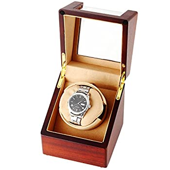CHIYODA Single Wooden Watch Winder with Quiet Motor, Battery Powered or AC Adapter-12 Rotation Modes