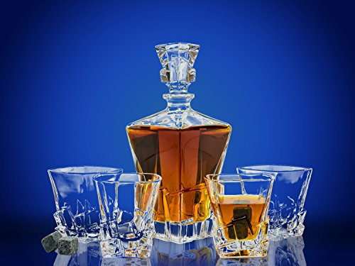 Whiskey Glass Set with Glass Whiskey Decanter - Set of 4 Cubed Shaped Old Fashioned Glasses with Bonus Granite Whiskey Stones - Great for Scotch and Bourbon - Whiskey Glasses - Perfect Holiday Gift (Crystal Whiskey Decanter)