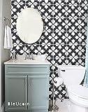 Bratislava Black and White Tile Stickers for Kitchen Bathroom Backsplash, Removable Stair Riser, Door Peel and Stick Home Decor, Furniture, Fridge Decal - Pack of 44 (30cm x 30cm (Pack of 44))
