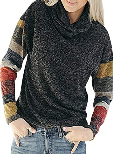 - Dokotoo Womens Fashion Pullover Loose Color Block Stripes Sweatshirts Cowl Neck Soft Long Sleeve Slim Black Fall Knitted Tops Tunic Large