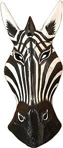 """AEVVV African Masks Zebra Mask Home Decor Wood Carved African Zebra Wall Hanging Safari Decor (Zebra 12"""")"""