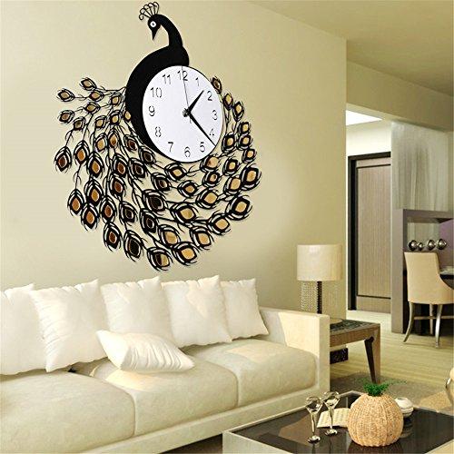 Stylish, Silent Wall Clock Home,Kitchen,Office,Living RoomModern Clock Wall Clock Living Room Fashion Simple Creative Quartz Clock Mute Clock Peacock Decorative Hanging Table, B/52.558cm ()