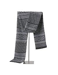 LETSQK Men's Winter Cashmere Soft Feel Scarves Long Plaid Stripes Warm Wrap