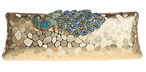 Gold Bywen Womens Clutch Peacock Shoulder 1 Party Purse Bags q0UPSqpw