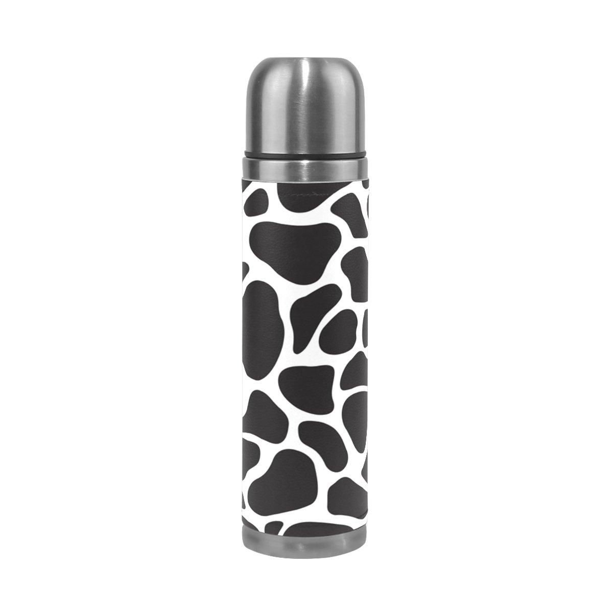 JSTeL cozebraキリン迷彩ステンレススチールウォーターボトル真空断熱真空ボトルを漏れ防止ダブルホットコーヒーまたはコールドティー+ Drink Cup Top 500 ml B078YLTX54