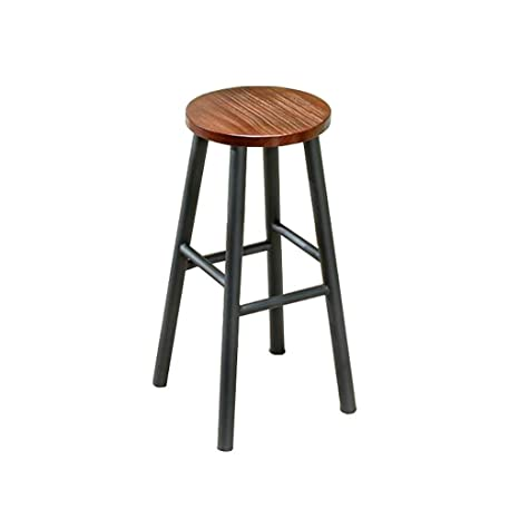 Pleasant Amazon Com Zhwgs Solid Wood Iron Art High Stool Bar Stool Machost Co Dining Chair Design Ideas Machostcouk