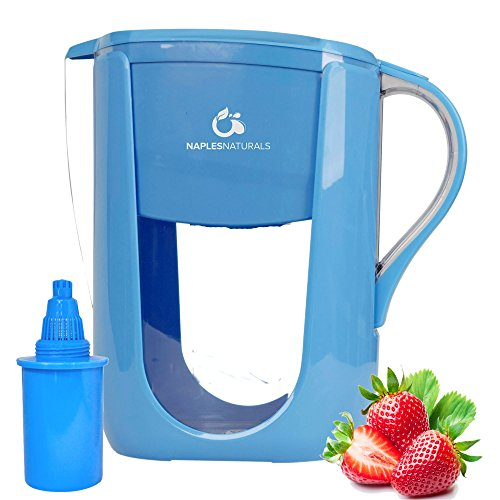 Alkaline Water Pitcher with ONE 6-Stage Carbon Water Filter - Removes Chlorine and Contaminants plus Increases pH (Blue)