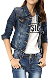 ARRIVE GUIDE Womens Classic Slim Fit Trucker Cropped Denim Jean Jacket