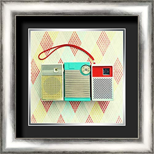 - Vintage Transistor Radio Trio 20x20 Silver Contemporary Wood Framed and Double Matted (Black Over Silver) Art Print by Dvorak, Vicki