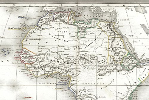 African continent fictitious Mts. Of Moon & Unexplored Regions 1842 rare old map ()