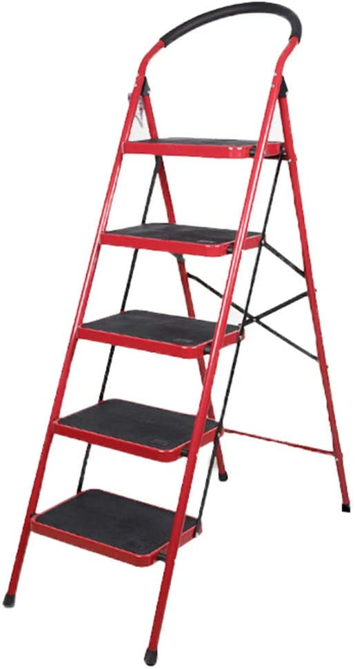 QFF Escalera de cinco peldaños, Escalera plegable de barandilla de metal de alta calidad para exteriores Escalera multifunción de tamaño 49 * 103 * 151.5CM doblez: Amazon.es: Bricolaje y herramientas