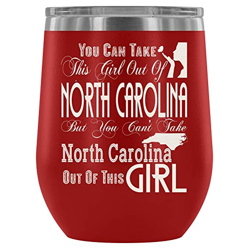 Christmas mug, Steel Stemless Wine Glass Tumbler, North Carolina Mom Vacuum Insulated Wine Tumbler, You Can Take This Girl Out Of North Dakota Wine Tumbler (Wine Tumbler 12Oz - Red) - North Dakota Wine