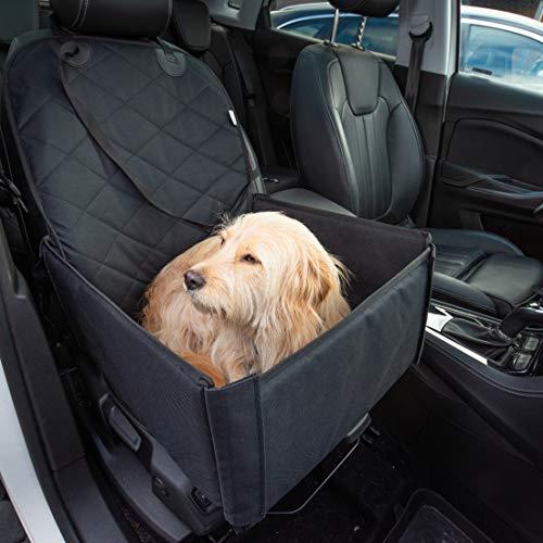 Hunde Autositz für kleine und mittelgroße Hunde + extra Sicherheitsgurt schnell verstaubar + wasserabweisend | Autositz…