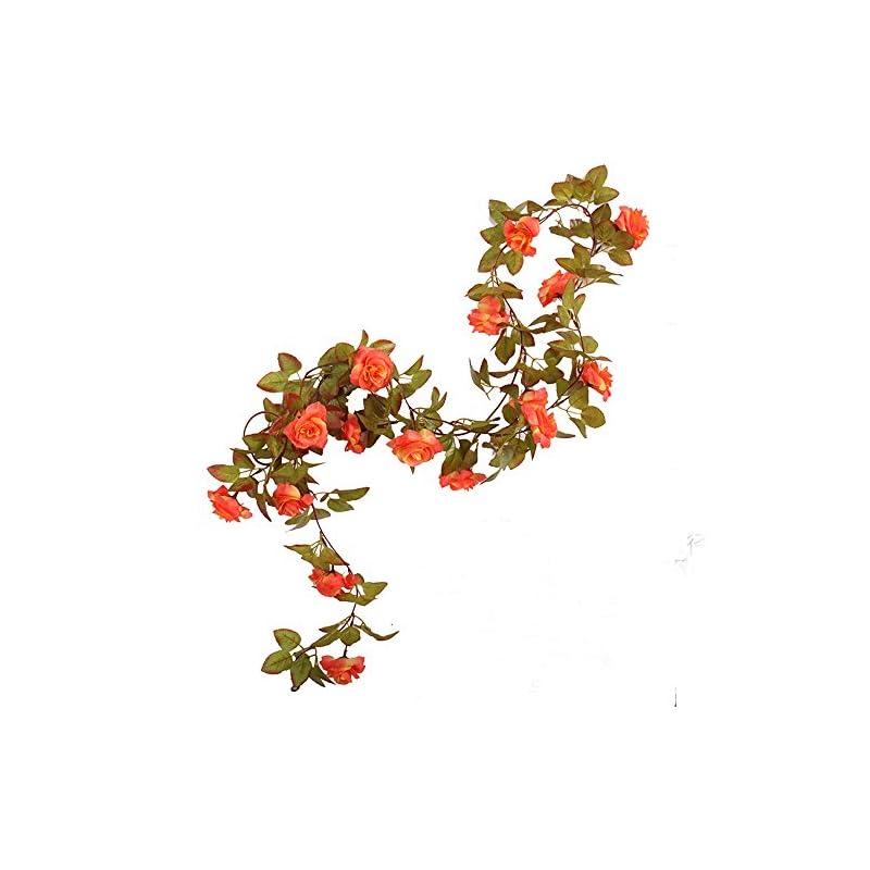 silk flower arrangements li hua cat rose garland artificial rose vine with green leaves 63 inch pack of 3 flower garland for home wedding decoration (17rose-orange)