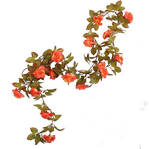 Li Hua Cat Rose Garland Artificial Rose Vine with Green Leaves 63 Inch Pack of 3 Flower Garland For Home Wedding Decoration (17rose-orange) ()