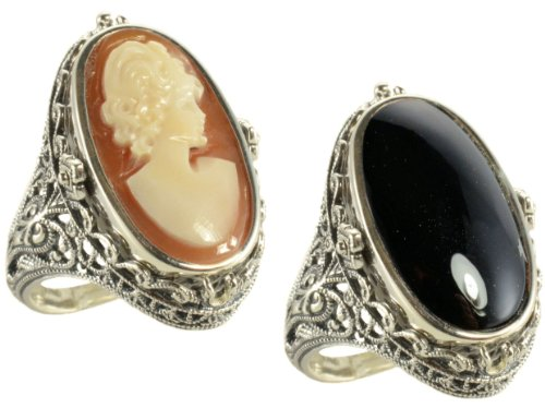 (Antique Style Sterling Silver Cameo &Onyx Flip Ring (sz 8.5))