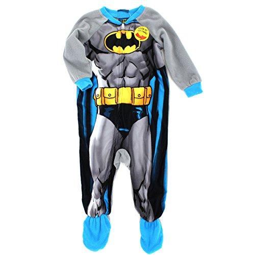 [Batman Toddler Fleece Costume Sleeper Pajamas with Cape (2T, Batman Costume)] (Batman Costumes Infant)