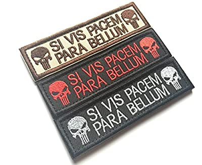 Bundle 3 pieces Set of Punisher Skull Si Vis Pacem Para Bellum Military Patch Morale Patch with Velcro Backside, Coyote Brown, Black with Red, Black Embroidered Patch 1 x 3.75 inch by BossBee