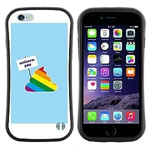 "Hypernova Slim Fit Dual Barniz Protector Caso Case Funda Para Apple (4.7 inches!!!) iPhone 6 / 6S (4.7 INCH) [Divertido unicornio del arco iris de la historieta Poo texto""]"
