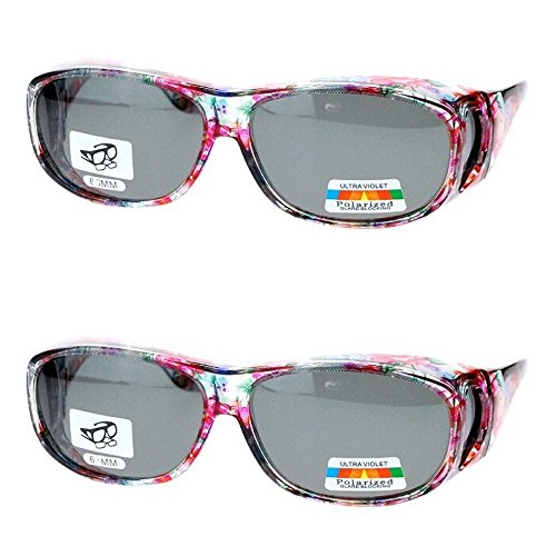 2 Pair Polarized Fit Over Oval Rectangular Sunglasses -8866JP2- ()