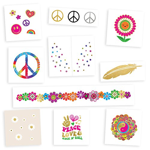 HIPPIE SUPER VARIETY SET of 50 assorted premium waterproof metallic gold, sliver & multi-colored jewelry temporary foil Flash Tattoos party tattoos - party supplies, groovy, 70s, hippie ()