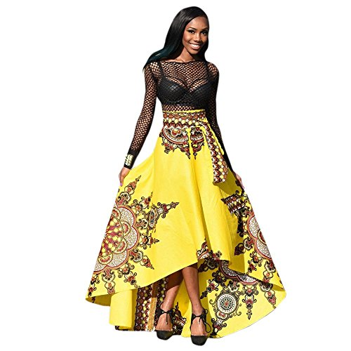 TOTOD New African Women Printed Skirt Summer Boho Long Dress Beach Evening Party Maxi Skirts Yellow