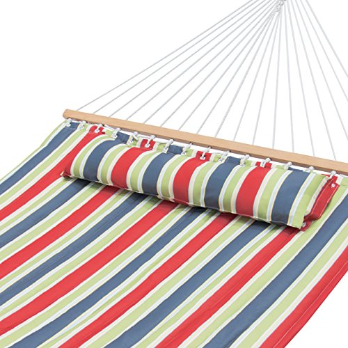 Best Choice Products Quilted Double Hammock w/Detachable Pillow, Spreader Bar - Red, Blue, and Green Stripes