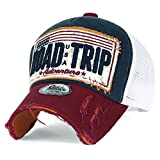ililily ROAD TRIP Vintage Distressed Snapback Trucker Hat Baseball Cap , Navy