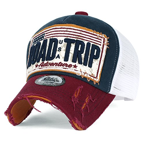 (ililily Road Trip Vintage Distressed Snapback Trucker Hat Baseball Cap, Navy)