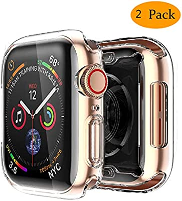 Smiling Clear Case for Apple Watch Series 4 & Series5 44mm with Buit in TPU Screen Protector - All Around Protective Case High Definition Clear ...