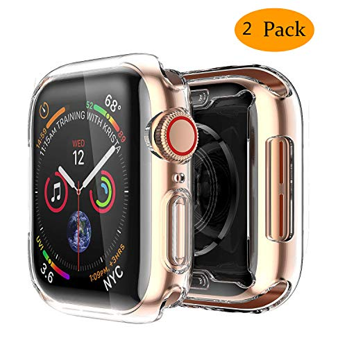 Ultra Slim Guard Skin - Smiling Clear Case for Apple Watch Series 4 44mm with Buit in TPU Screen Protector - All Around Protective Case High Definition Clear Ultra-Thin Cover for Apple iwatch 44mm Series 4 (2 Pack)