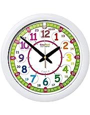 De stille wandklok van kinderen, leerklok, met klok en het leren lezen van tijd met kleurontwerp