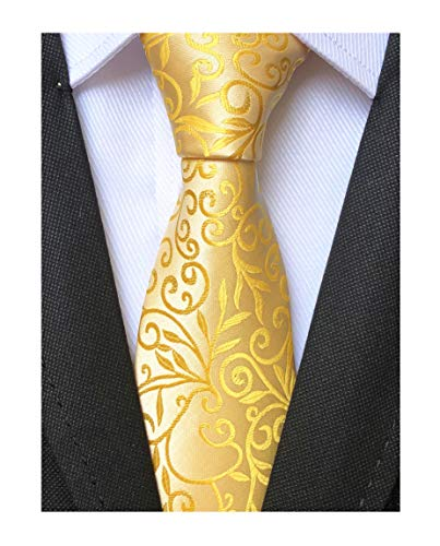 Men Handmade Yellow Gold Silk Ties Fashion Floral Wedding Party Designer Necktie (Designer Suit Executive Mens)