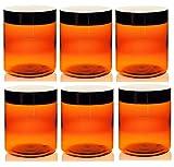 2 oz amber plastic jars - Amber 8 Oz Plastic Jar Black Lid - Pack of 12 by PremiumVials