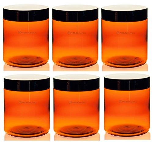 8 oz amber plastic jars - 2