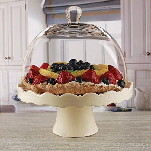 - Circleware 55144 Dolche Torta Cream Ceramic Cake Plate with Round Dome-11